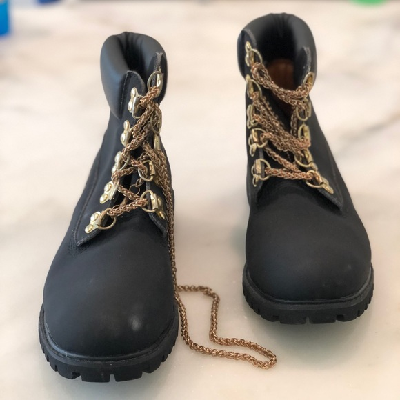 Expulsar a respuesta Escupir  Timberland Shoes | Timberland Black Boots Gold Chain Laces Men Sz5w |  Poshmark
